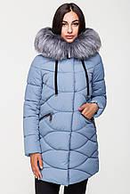 Зимняя стильная куртка женская Kattaleya KTL-163 голубая (#3061) с искусственным мехом