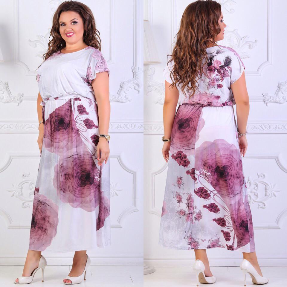 Длинное женское платье с цветочным принтом размер 54