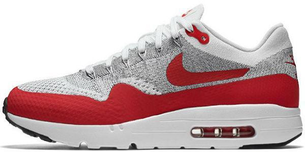 18ad0ea737cc Nike Air Max 1 Ultra Flyknit White Red Grey   кроссовки мужские  летние