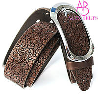 Ремень женский джинсовый (casual) тисненная кожа на шпеньке (шоколадный) 35 мм-купить оптом в Одессе