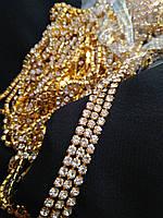 Страхова ланцюг золото Crystal, SS12 (3 мм) 1 ряд. Ціна за 1м.