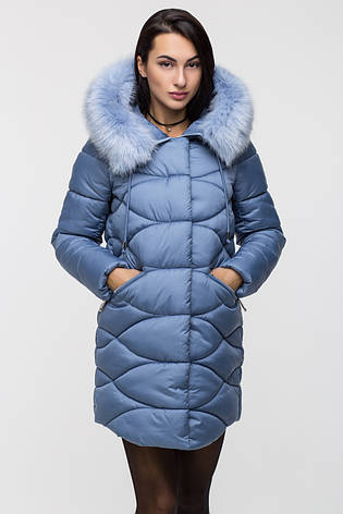 Зимняя стильная куртка женская Kattaleya KTL-163 голубая (#592) с искусственным мехом, фото 2