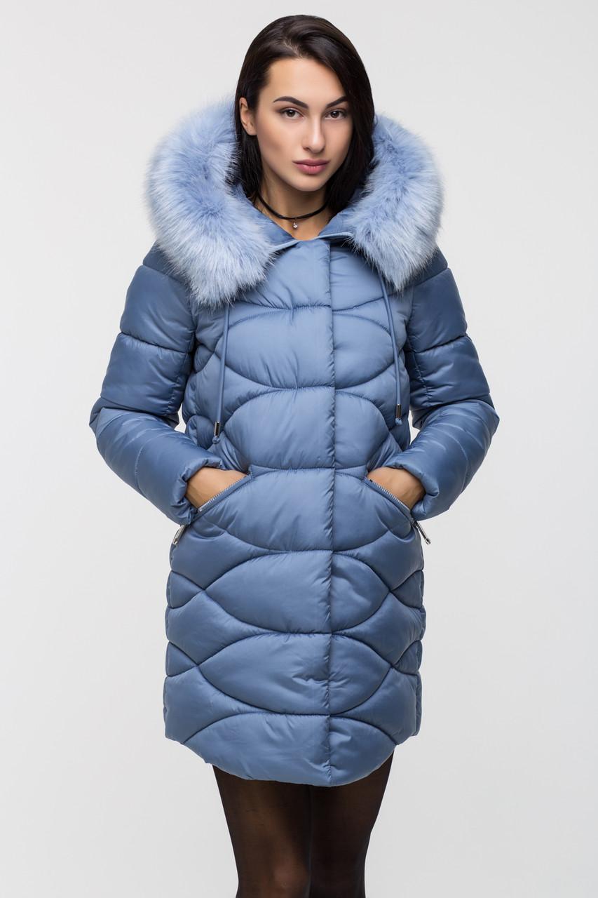Зимняя стильная куртка женская Kattaleya KTL-163 голубая (#592) с искусственным мехом