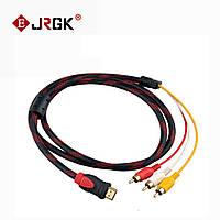 Компонентный видео кабель HDMI TO 3RCA CABLE кабель (37/50) на тюльпан 1.5м провод переходник в обмотке, фото 1