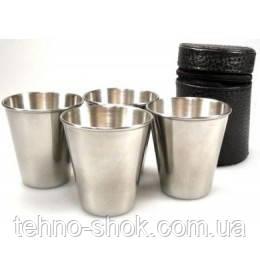 Походные рюмки из нержавеющей стали в чехле (4шт,70мл)