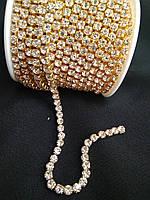 Страхова ланцюг золото Crystal, SS16 (4 мм) 1 ряд. Ціна за 1м.