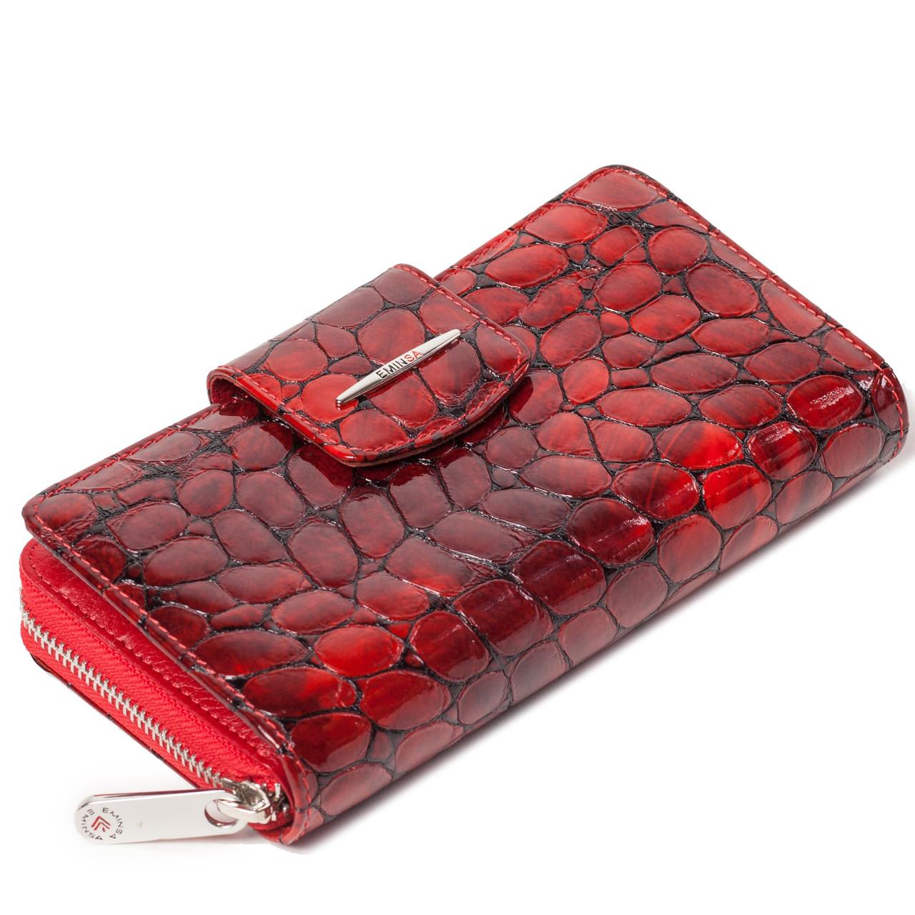 Женский кошелек кожаный красный Eminsa 2149-7-5
