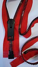 Молния металлическая тип 12 Красная основа черненый металл 70см полированная