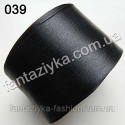 Лента атласная широкая 5 см, черная 039