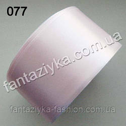 Лента атласная широкая 5 см, бело-розовая 077