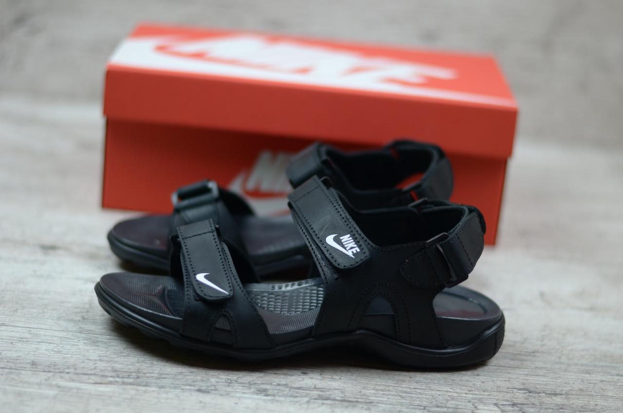 Мужские Кожаные Сандалии Nike Реплика. КОД  Nike-8 Чер. — в ... 291e6ecb4fd7b