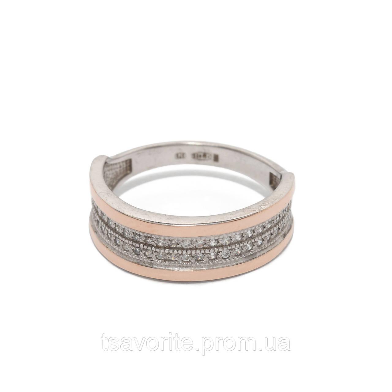 Серебряное кольцо с золотом 500439-ЗНР