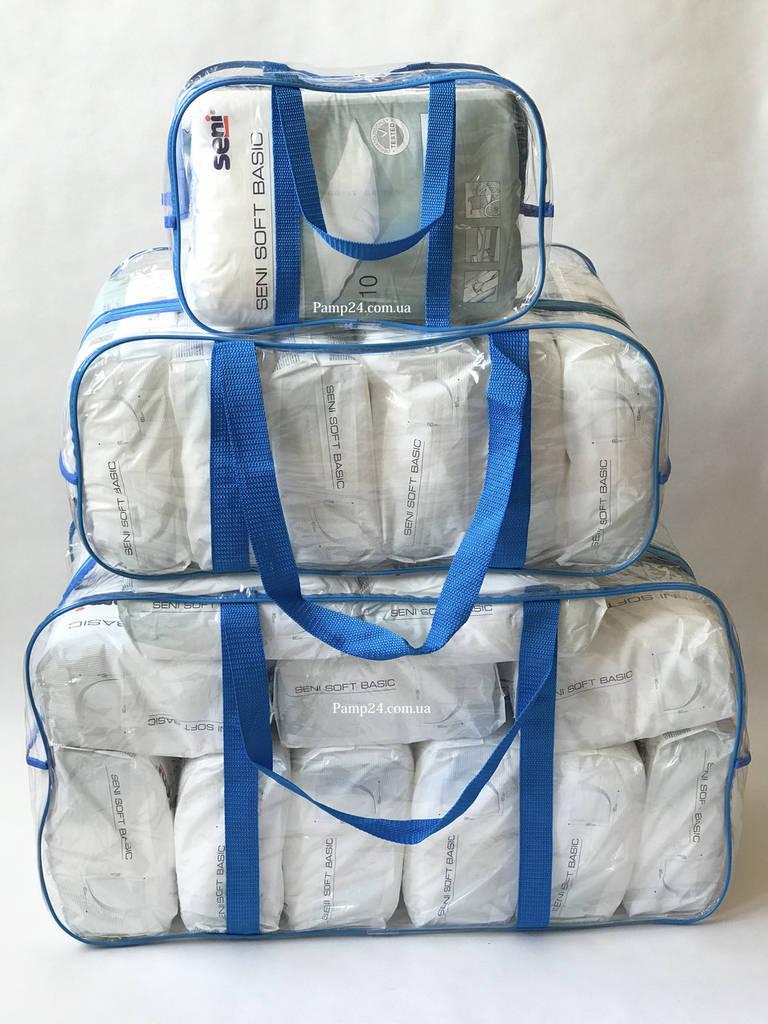 Набор из 3 прозрачных сумок в роддом - S,L,XL - Синие