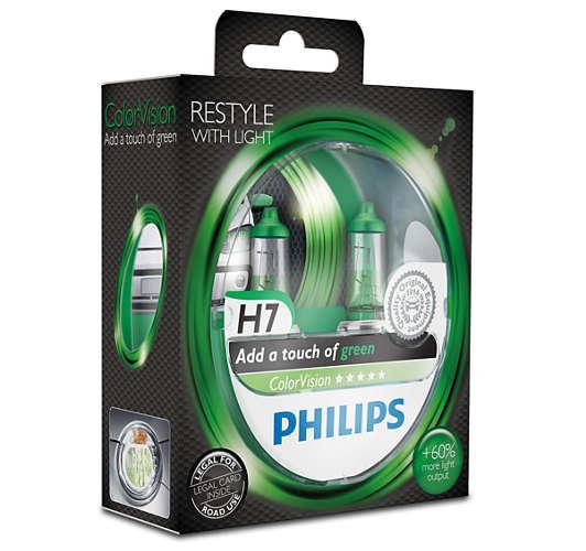 PHILIPS H7 Color Vision Green 12V 55W