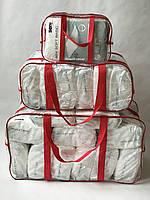 Набор из 3 прозрачных сумок в роддом - S,L,XL - Красные