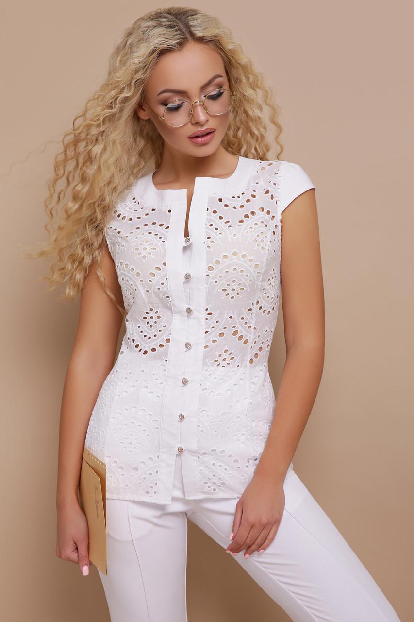 0270ca0c5d1 Купить Прилегающая белая блузка из прошвы и бенгалина с рукавом ...