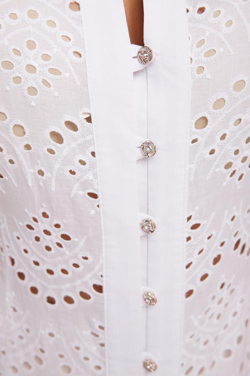 e1f7bc1bef6 Прилегающая белая блузка из прошвы и бенгалина с рукавом-японкой ...