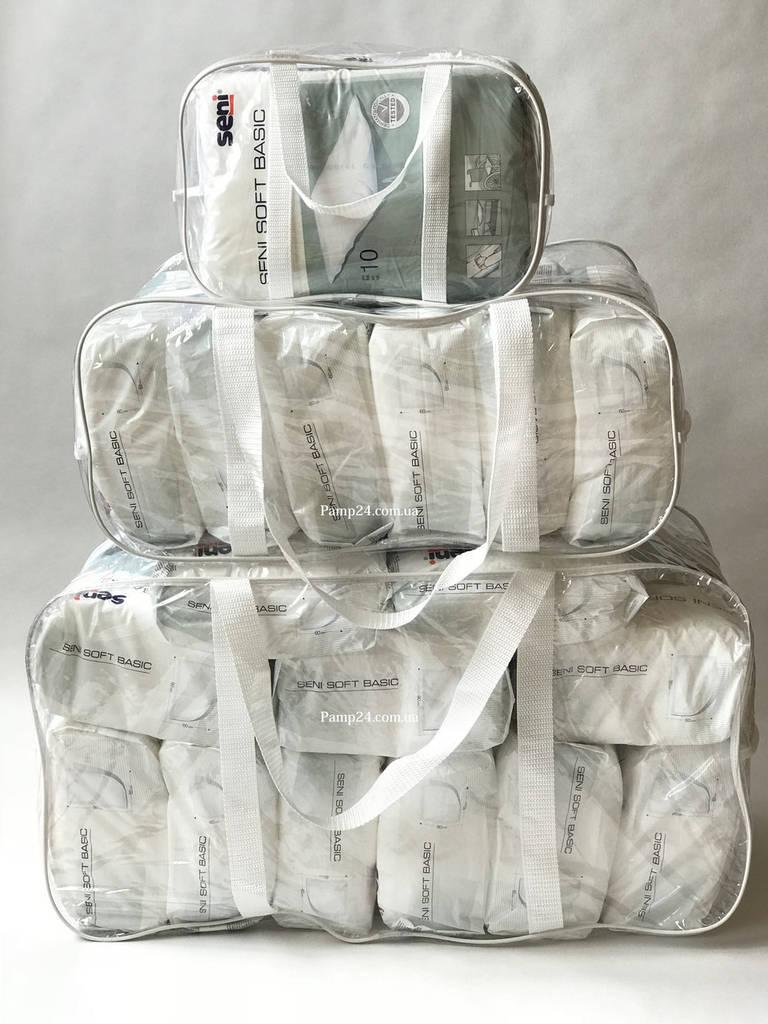 Набор из 3 прозрачных сумок в роддом - S,L,XL - Белый