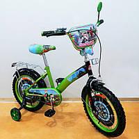 Велосипед T-216212 Мотогонщик 16 дюймов TILLY green + black, Велосипед двухколёсный с страховочными колесами