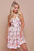Летнее платье мини юбка пышная без рукав полосатое с цветочным принтом розовое