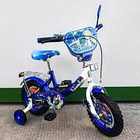 Велосипед TILLY Космонавт 12 T-21226 blue + white, Велосипед для мальчика с страховочными колесами 12 дюймов