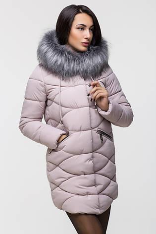 Зимняя стильная куртка женская Kattaleya KTL-163 розовая (#517) с искусственным мехом, фото 2