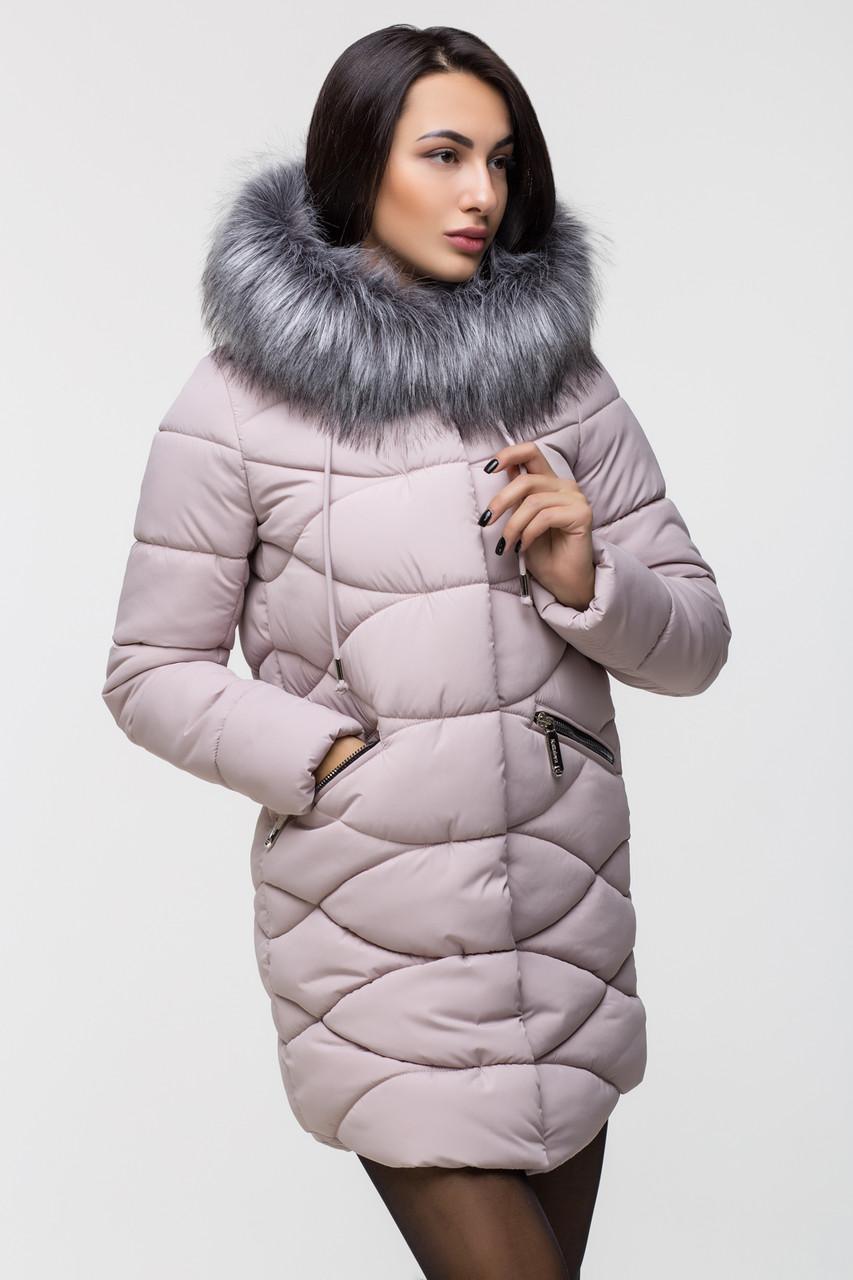 Зимняя стильная куртка женская Kattaleya KTL-163 розовая (#517) с искусственным мехом