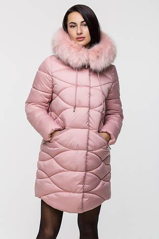 Зимняя стильная куртка женская Kattaleya KTL-163 розовая (#594) с искусственным мехом, фото 2