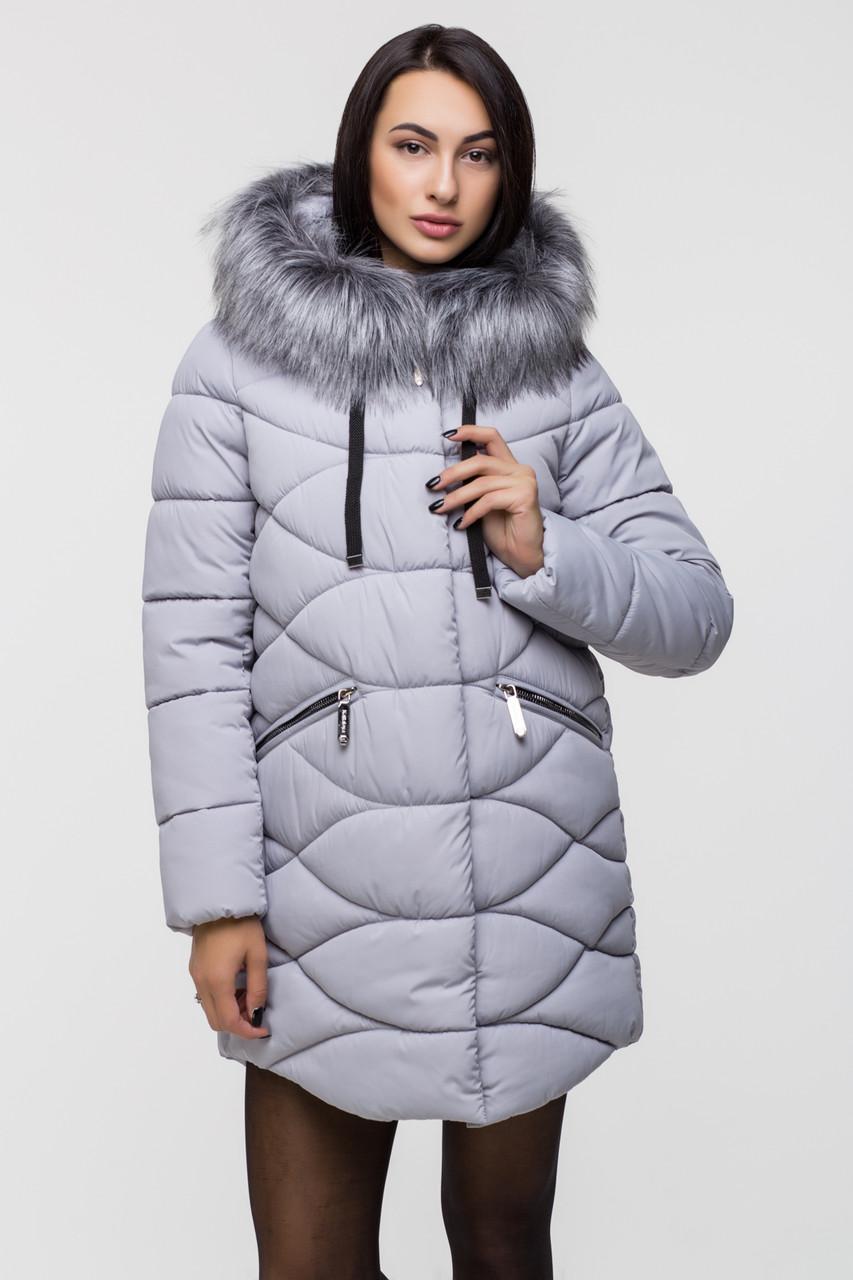 Зимняя стильная куртка женская Kattaleya KTL-163 серая (#600) с искусственным мехом
