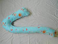 """Наволочка на подушку для беременных  """"Семерка""""  цвет зайцы на голубом фоне"""