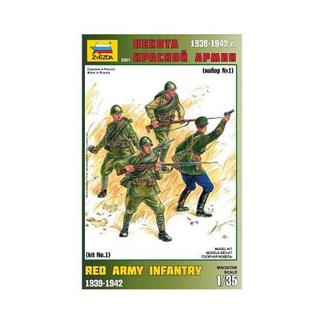 Набор пластиковых фигур в масштабе 1/35. Пехота Красной Армии (№1). ZVEZDA 3501, фото 2