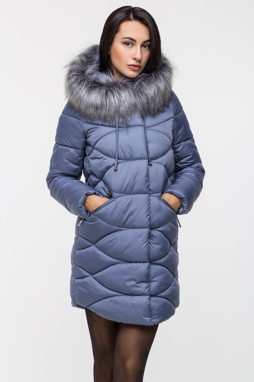 Зимняя стильная куртка женская Kattaleya KTL-163 темно-голубая (#595) с искусственным мехом
