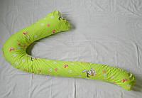 "Наволочка на подушку для беременных ""Семерка"" ТМ БиоПодушка цвет зайцы на салатовом фоне"