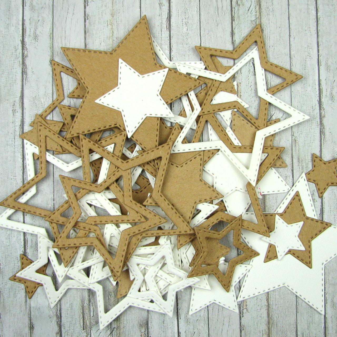 """Набор вырубки из плотного картона """"Звезды"""", 50 элементов"""