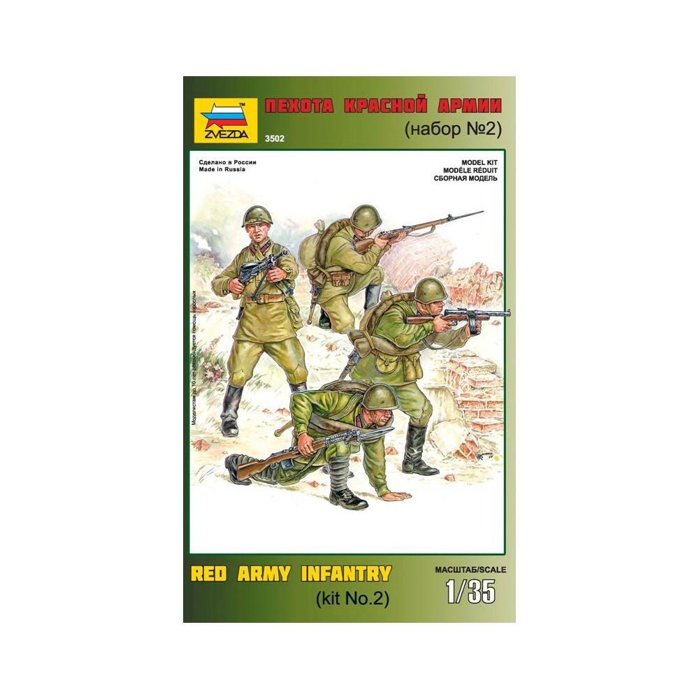 Набор пластиковых фигур в масштабе 1/35. Пехота Красной Армии (№2). ZVEZDA 3502