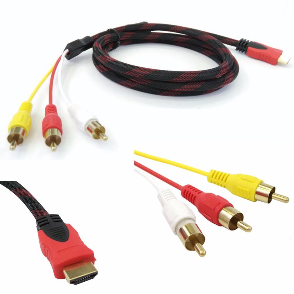 Компонентный видео кабель HDMI TO 3RCA CABLE кабель (25/64) на тюльпан 2м провод переходник в обмотке