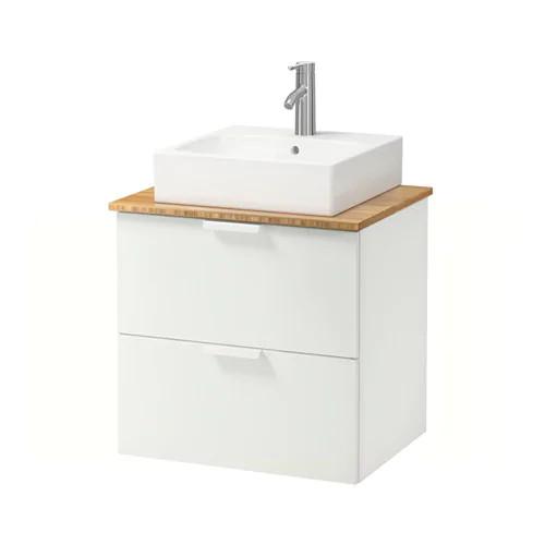 Шкаф с раковиной IKEA GODMORGON / TOLKEN / TÖRNVIKEN 62x49x72 см с ящиками бамбук белый 392.052.13