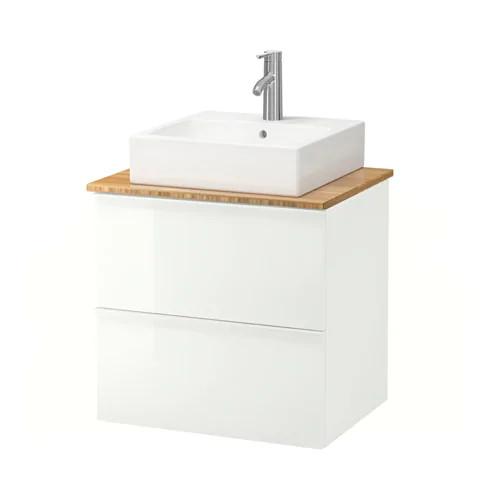 Шкаф с раковиной IKEA GODMORGON / TOLKEN / TÖRNVIKEN 62x49x72 см с ящиками бамбук глянец белый 992.051.25