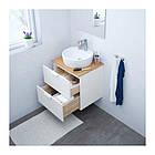 Шкаф с раковиной IKEA GODMORGON / TOLKEN / TÖRNVIKEN 62x49x74 см с ящиками бамбук белый 792.053.05, фото 2