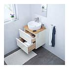 Шкаф с раковиной IKEA GODMORGON / TOLKEN / TÖRNVIKEN 62x49x74 см с ящиками бамбук глянец белый 792.051.74, фото 2