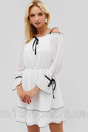 Женское расклешенное белое платье с черным кантом (Bonsi crd), фото 2