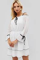 Женское расклешенное белое платье с черным кантом (Bonsi crd)