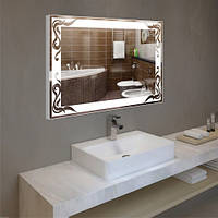 Настенное зеркало в алюминиевой раме 60х80 см, led подсветка