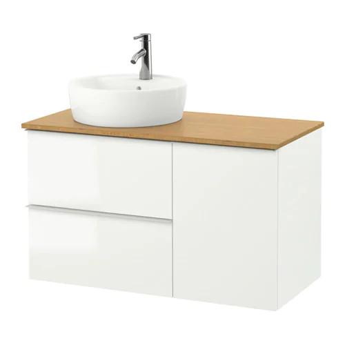 Шкаф с раковиной IKEA GODMORGON / TOLKEN / TÖRNVIKEN 102x49x74 см с ящиками белый глянец бамбук 491.920.93