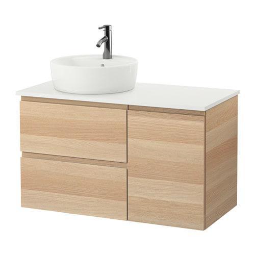 Шкаф с раковиной IKEA GODMORGON / TOLKEN / TÖRNVIKEN 102x49x74 см с ящиками дуб беленый белый 491.932.81