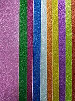 Фоамиран А4 С ГЛИТЕРОМ  НА КЛЕЙКОЙ ОСНОВЕ микс цветов 2мм/10 листов(20х30см)