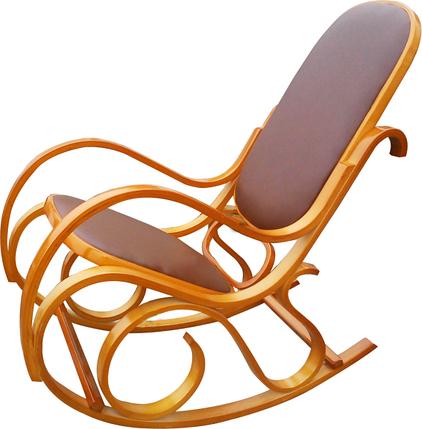 Кресло-качалка светлая, кожанная, коричневая, фото 2