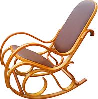 Кресло-качалка светлая, кожанная, коричневая