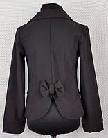 Пиджак детский школьный чёрный 122,128,134,140,146,152см костюмная ткань бант сзади