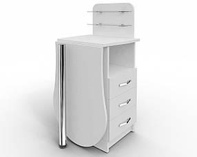 Стол маникюрный Эстет №1 Компакт ДСП Белый стеклянные полочки, ручки Эстет (Markson TM)